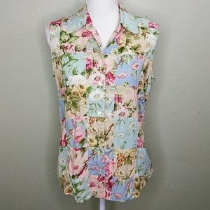 Vintage Lizwear Sleeveless Patchwork Blouse M EUC